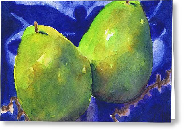 Greeting Card featuring the painting Two Pears On Blue Tile by Susan Herbst
