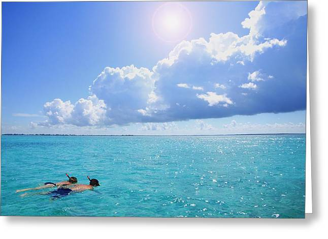 Two People Snorkeling Greeting Card