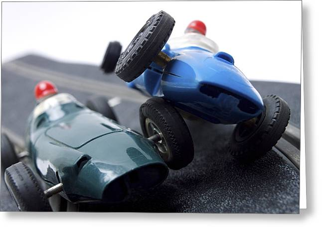 Two Racecars Greeting Card by Bernard Jaubert