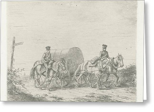 Two Soldiers On Horseback On The Road, Print Maker Greeting Card