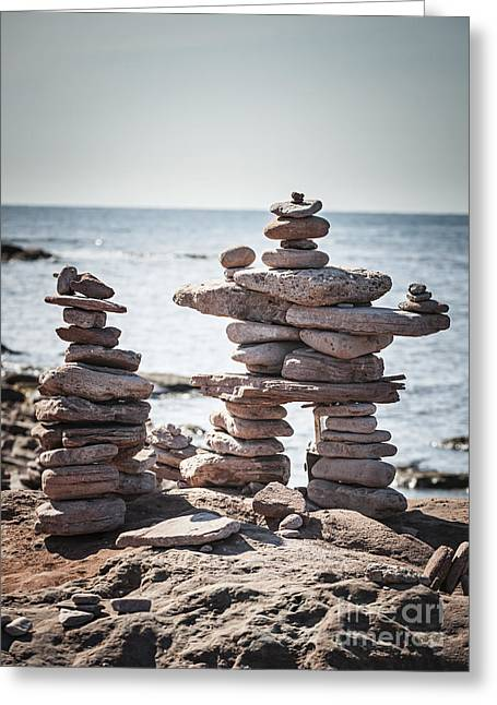 Two Stacked Stone Cairns Greeting Card by Elena Elisseeva