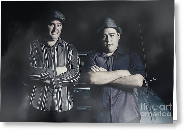 Two Tough And Serious Gangster Men Sitting On Car Greeting Card by Jorgo Photography - Wall Art Gallery