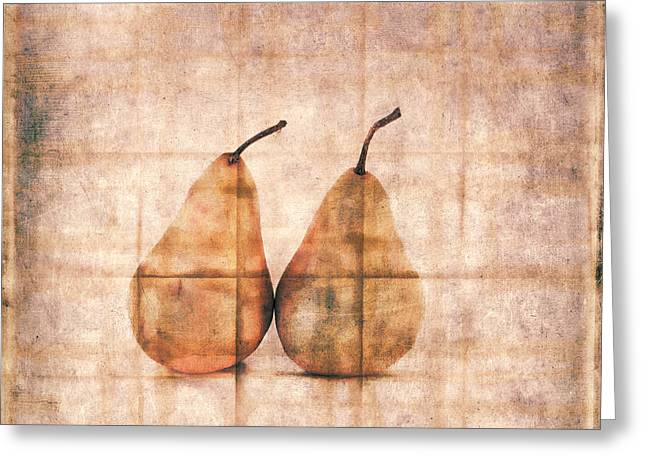 Two Yellow Pears On Folded Linen Greeting Card