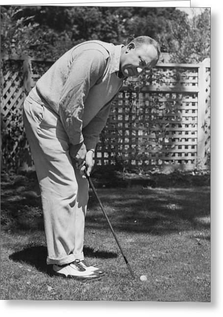 Ty Cobb Golfing At Home Greeting Card by Underwood Archives