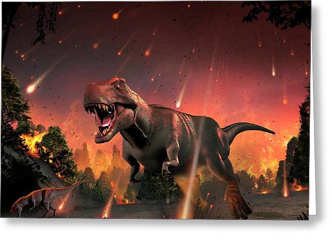 Tyrannosaurs Fleeing A Hail Of Meteorites Greeting Card by Mark Garlick