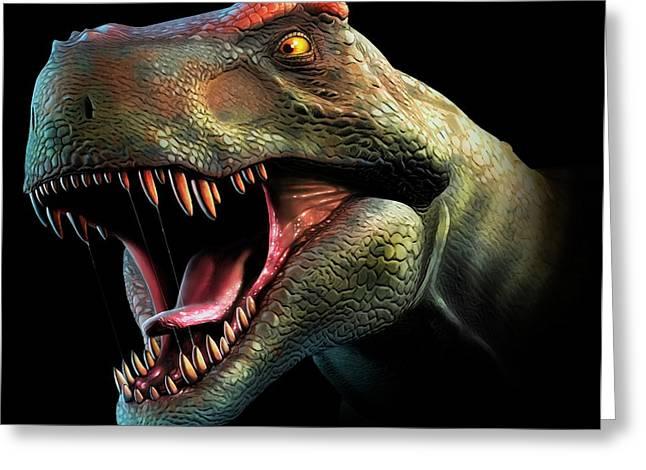 Tyrannosaurus Rex Head Study Greeting Card by Mark Garlick