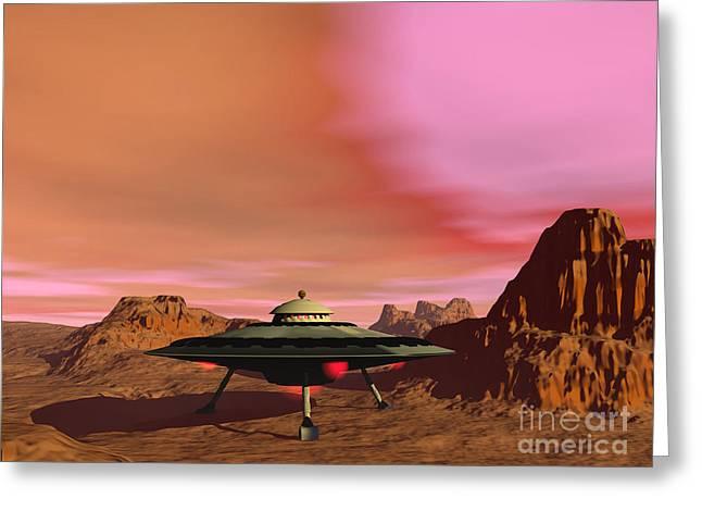 Ufo Landing On A Desert Landscape Greeting Card