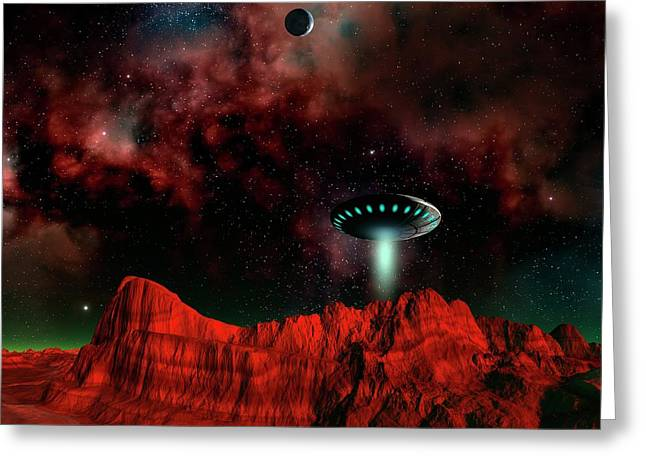 Ufo Over An Alien Planet Greeting Card by Mehau Kulyk/science Photo Library