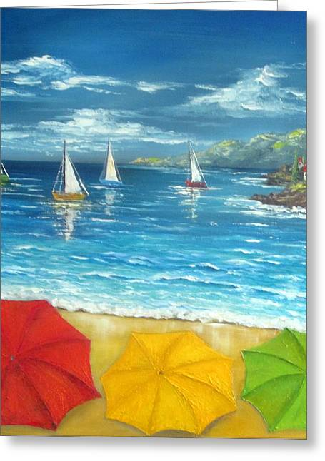 Umbrella Beach Greeting Card