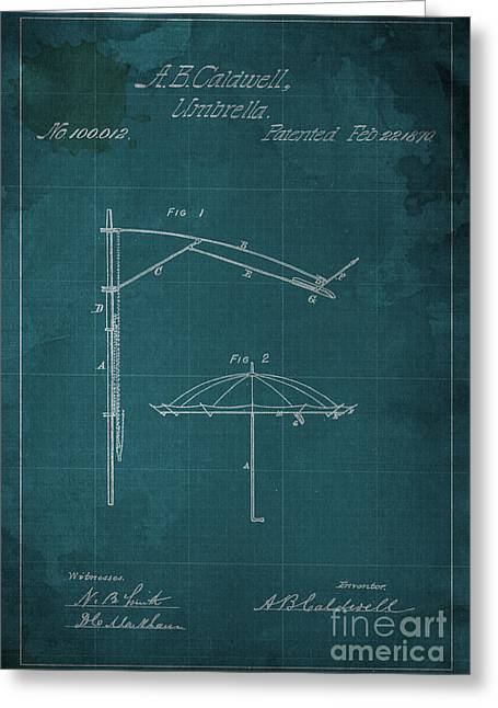 Umbrella Patent - A.b. Caldwell Greeting Card by Pablo Franchi