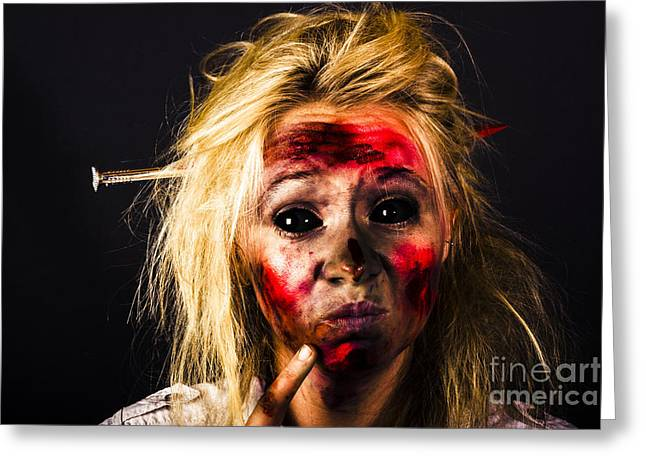 Undead Zombie Looking To Dark Copy Space Greeting Card by Jorgo Photography - Wall Art Gallery