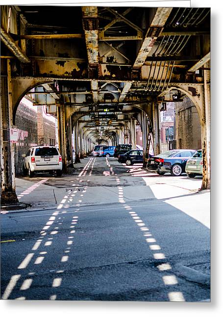 Under The L Tracks Greeting Card