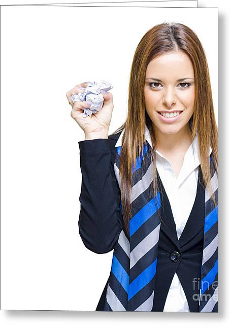 Unhappy And Angry Business Woman With Paper Greeting Card