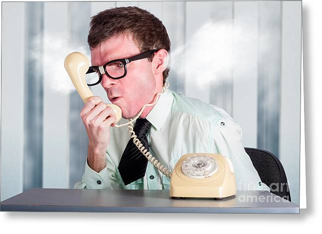 Unhappy Nerd Businessman Yelling Down Retro Phone Greeting Card by Jorgo Photography - Wall Art Gallery