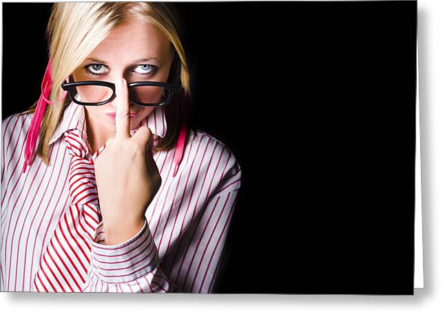 Unhappy Worker Sending A Unsolicited Message Greeting Card by Jorgo Photography - Wall Art Gallery