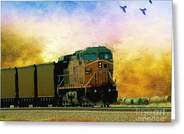 Union Pacific Coal Train Greeting Card by Janette Boyd