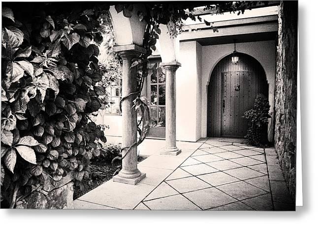 Up At The Villa Greeting Card by Theresa Tahara