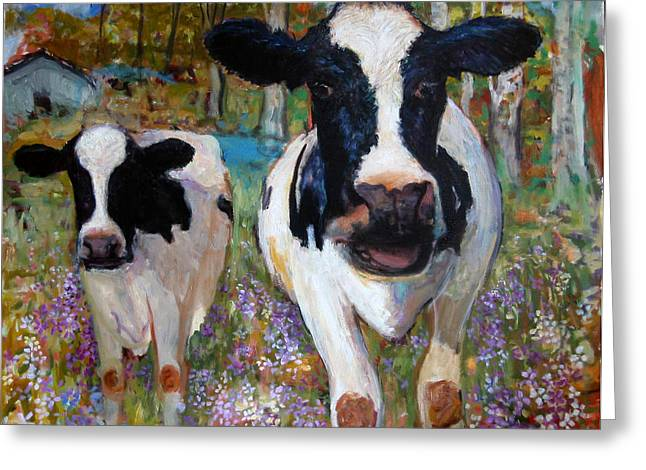 Up Front Cows Greeting Card