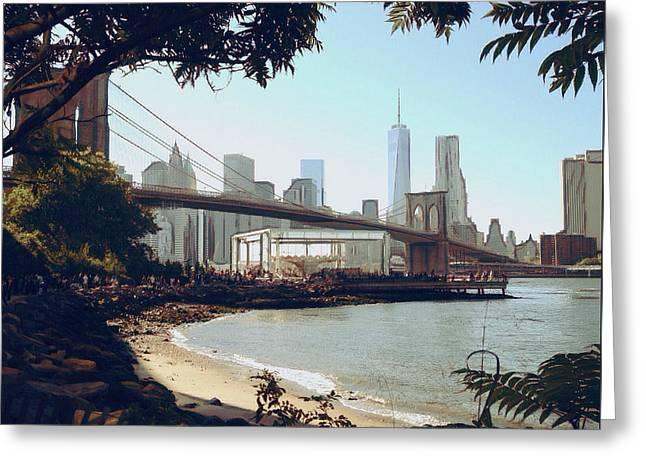 Upon The Brooklyn Shore Greeting Card by Natasha Marco