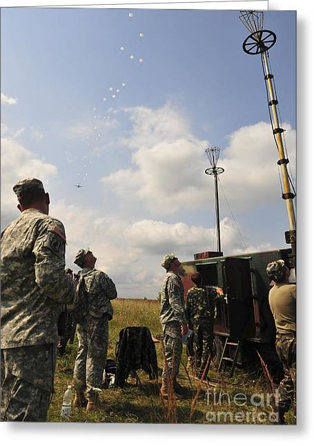 U.s. Army Paratroopers Train Greeting Card by Stocktrek Images
