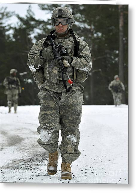 U.s. Army Soldier Conducts A Dismounted Greeting Card by Stocktrek Images