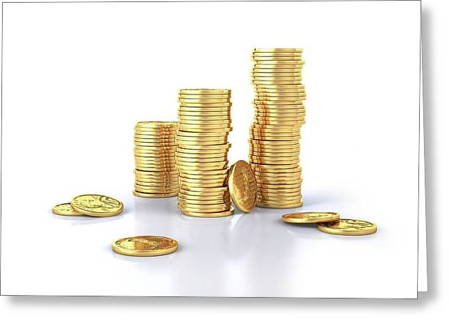 Us Dollar Coins Greeting Card