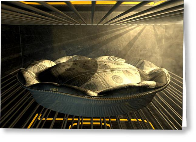 Us Dollar Money Pie Baking In The Oven Greeting Card by Allan Swart