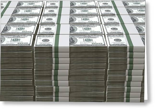 Us Dollar Notes Pile Greeting Card by Allan Swart