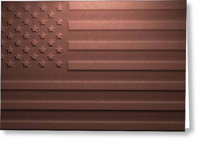 Us Flag On Rusty Metal Greeting Card by Ktsdesign