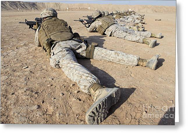 U.s. Marines Conduct A Battlefield Zero Greeting Card