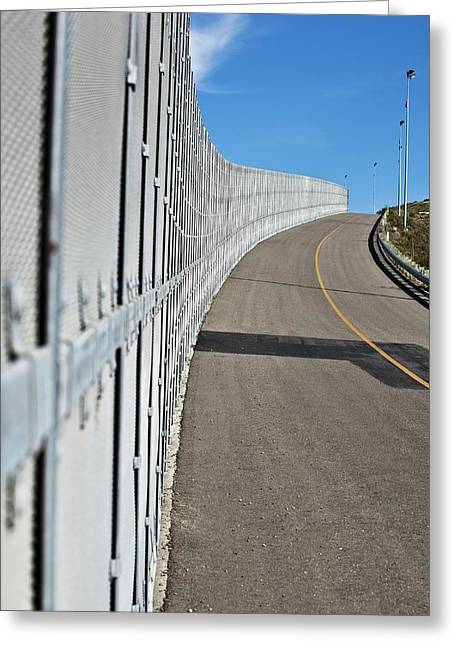 Us-mexico Border Fence Greeting Card by Josh Denmark - U.s. Customs And Border Protection/science Photo Library