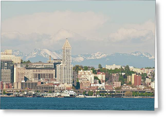 Us, Wa, Seattle Downtown Waterfront Greeting Card by Trish Drury