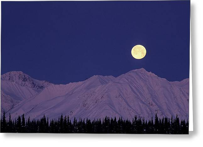 Usa, Alaska, Alaska Range, Full Moon Greeting Card