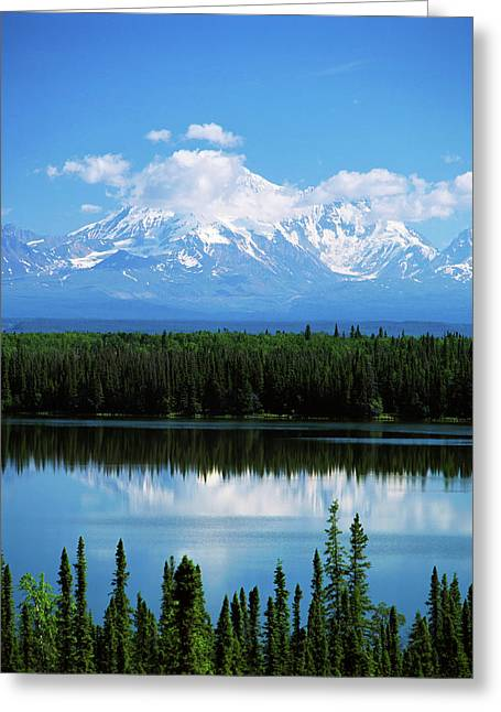 Usa, Alaska, Willow Lake And Mt Greeting Card by Adam Jones