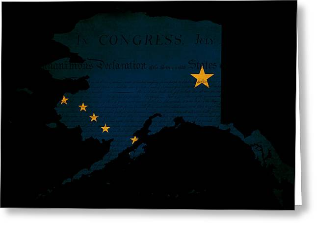 Usa American Alaska State Map Outline With Grunge Effect Flag Greeting Card by Matthew Gibson