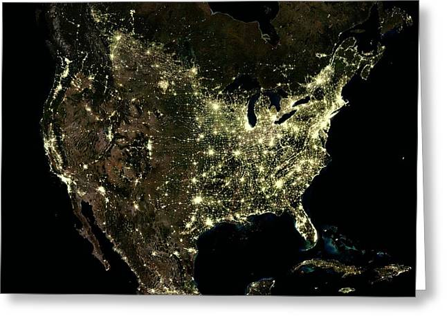 Usa At Night Greeting Card