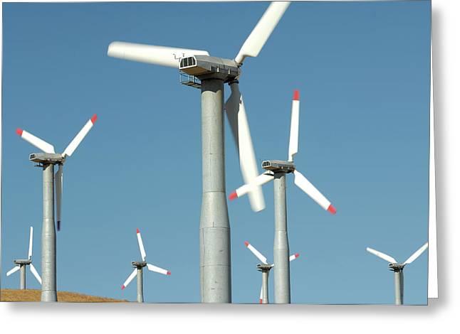 Usa, California, Wind Farm, Wind Power Greeting Card