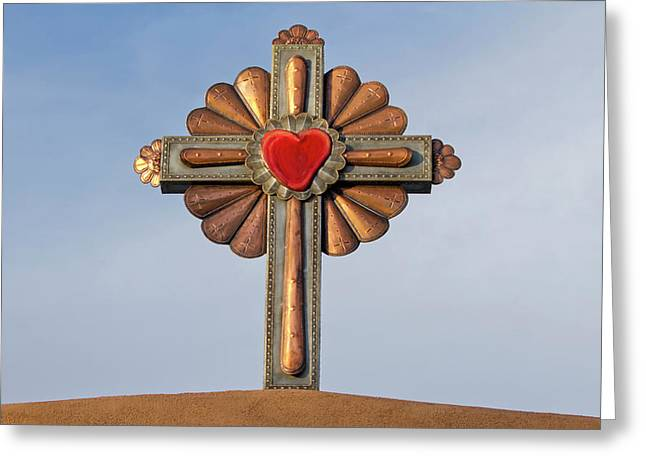 Usa, New Mexico, Chimayo, Gilded Cross Greeting Card by Luc Novovitch