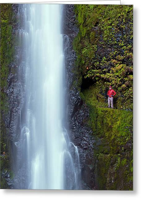 Usa, Oregon A Man In Red Stands Aside Greeting Card