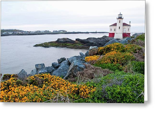 Usa, Oregon, Bandon, Coquille River Greeting Card by Peter Hawkins