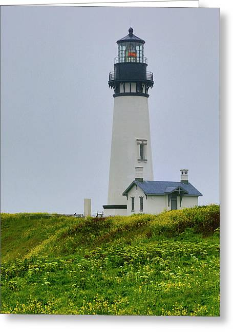 Usa, Oregon Yaquina Head Lighthouse Greeting Card by Jaynes Gallery