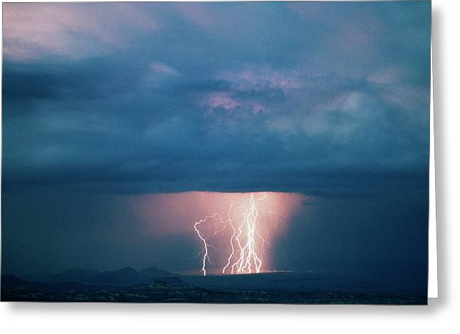 Usa, Utah, Thunderstorm Over Cathedral Greeting Card by Scott T. Smith