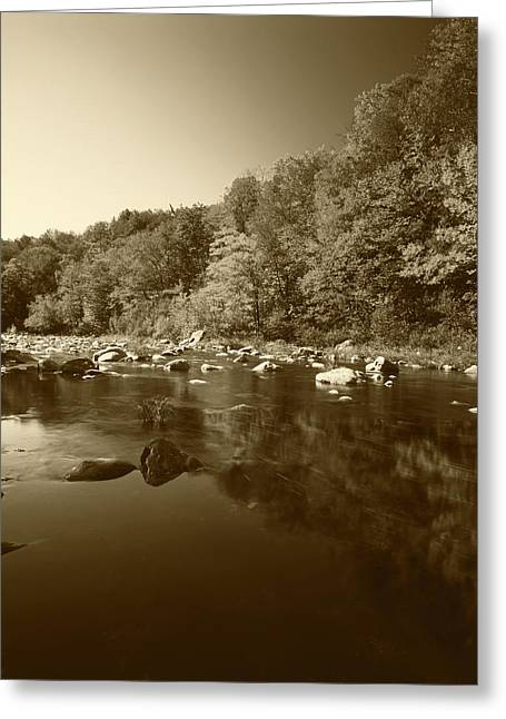 Usa, Vermont, Autumn Trees Reflected Greeting Card by Adam Jones