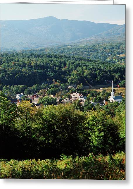 Usa, Vermont, Stowe, View Of Town Greeting Card by Walter Bibikow