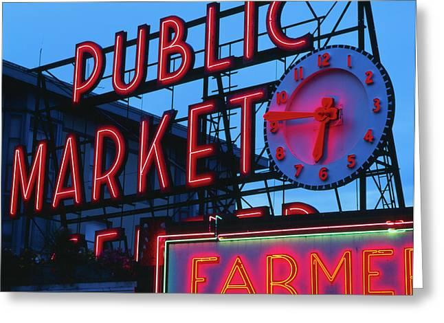Usa, Washington State, Seattle, View Greeting Card