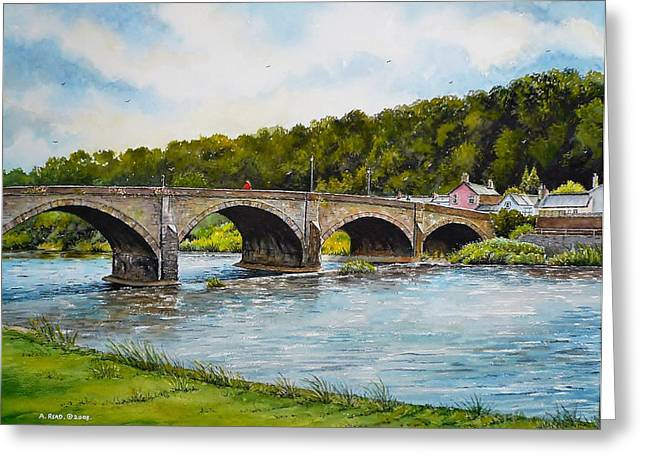 Usk Bridge Greeting Card by Andrew Read