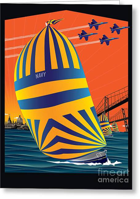 Usna Sunset Sail Greeting Card by Joe Barsin