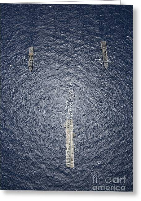 Uss Kearsarge, Uss Carter Hall And Uss Greeting Card by Stocktrek Images