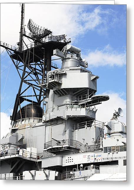 Uss Missouri Superstructure Greeting Card by Jan Tyler