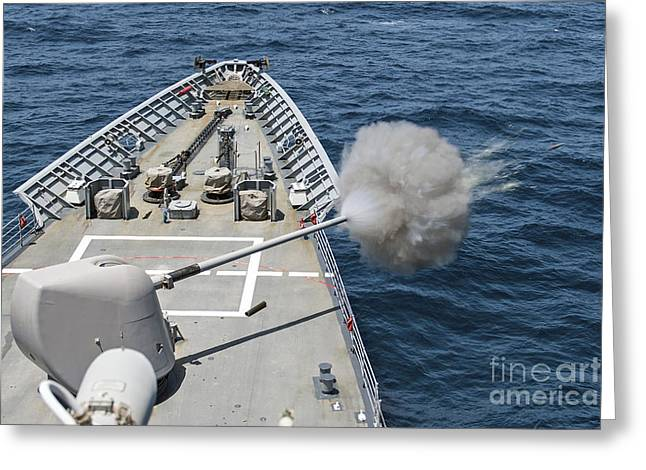 Uss Philippine Sea Fires Its Mk-45 Greeting Card by Stocktrek Images
